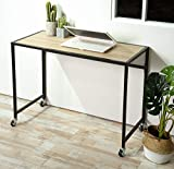 Aingoo Mobile Computer Desk Wheels 39inch Rolling Writing Table for Home Office Steel Frame Beige