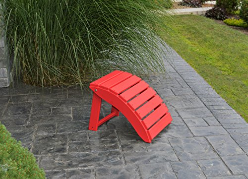 FOLDING OTTOMAN FOOT STOOL for ADIRONDACK CHAIR, Rest Your Feet In Style, Amish Made in the USA with Poly Wood Eco Lumber (Chinese Red Ottoman) (Folding Lumber Recycled Chair Poly)
