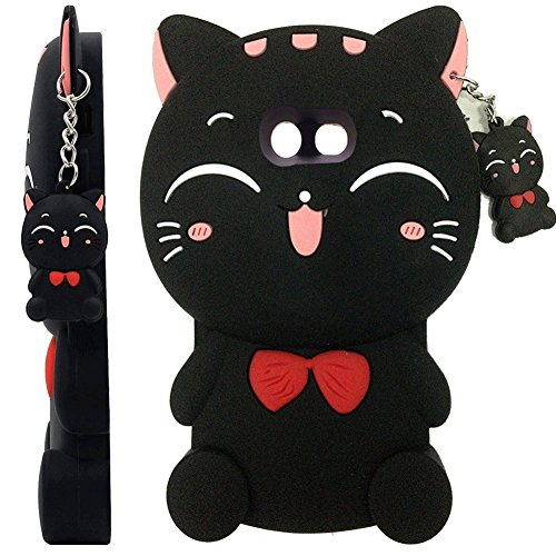 Galaxy J3 Emerge Case, J3 Prime/J3 Mission/J3 Eclipse/J3 Luna Pro/Amp Prime 2, Skmy 3D Lucky Fortune Cat Kitty with Cute Bow Tie Silicone Rubber Phone Case Cover for Samsung Galaxy J3 2017 - Black