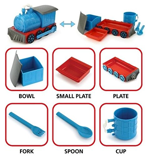 KidsFunwares Chew-Chew Train Place Setting, Blue - Transforms from a Train into a Functional Meal Set - Includes Bowl, Small Plate, Plate, Fork, Spoon, and Cup - Great Gift for Kids - Dishwasher Safe by KidsFunwares (Image #1)