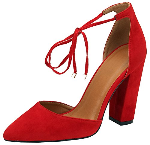 - Cambridge Select Women's D'Orsay Closed Pointed Toe Ankle Tie Chunky Block Heel Pump (6.5 B(M) US, Red)