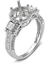 1.20 Carat (Ctw) 14k White Gold Round & Princess Diamond Ladies Bridal Semi Mount Ring (No Center Stone)