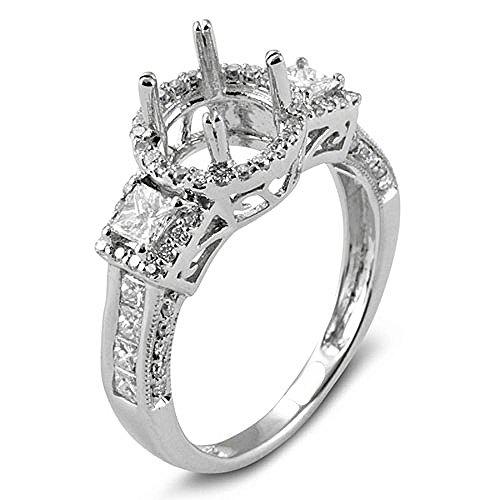 (Dazzlingrock Collection 1.20 Carat (Ctw) 14k Round & Princess Diamond Ladies Bridal Semi Mount Engagement Ring (No Center Stone), White Gold, Size 5)