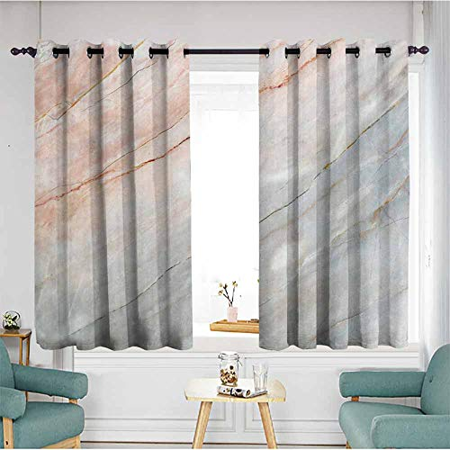 AndyTours Kids Curtains,Marble Onyx Stone Textured Natural Featured Authentic Scratches Artful Illustration,Grommet Curtains for Bedroom,W63x72L,Peach Pale Grey