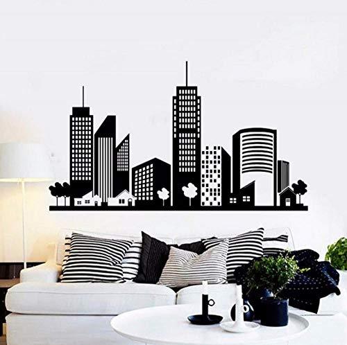 zhj888 Cityscape Silhouette Vinyl Wall Sticker Office University Dormitory Living Room Home Decoration Applique 99 X 57Cm