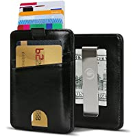 EGRD Front Pocket Minimalist Leather Slim Wallet RFID Blocking with Money Clip (Black)