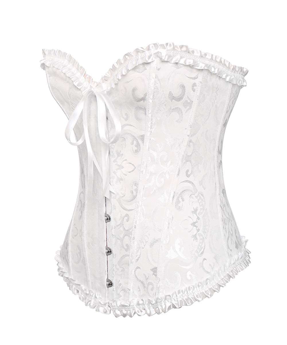 ee60df29ff5 Miss Moly Womens Sexy Vintage Lace up Boned Overbust Corset Bustier Top Plus  Size Unique Christmas Gifts
