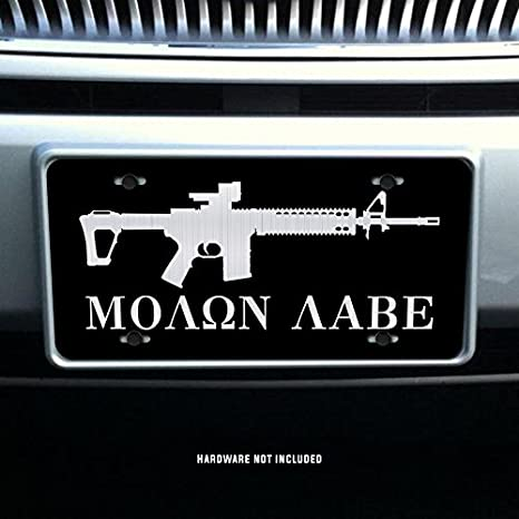 Assault Rifle Molon Labe 2nd Amendment Vanity Front License Plate Tag KCE014