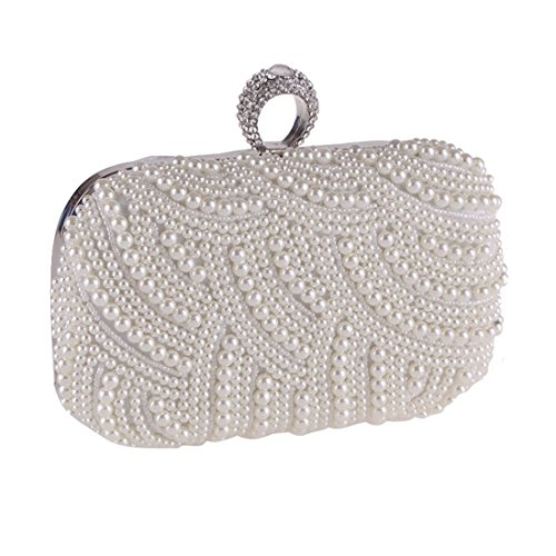 Diamond Pouch Evening Apricot Women's KERVINFENDRIYUN encrusted Clutch Color Pearl Chain White Bag Purse 1BnZSwq