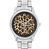 Giraffe Print Custom Watches Metal Stainless Steel Watch For Unisex