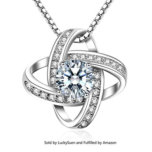925 Silver Pendant Necklace (LuckySuen Womens Necklace 925 Sterling Silver Windmill Pendant Cubic Zirconia Box Chain)