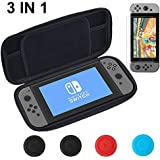 Vorida Case Compatible for Nintendo Switch, Carrying Travel Case Protective 8 Game Storage Slots & 9H Tempered Glass Screen Protector & Joy Con Grips Caps with Carrying Strap