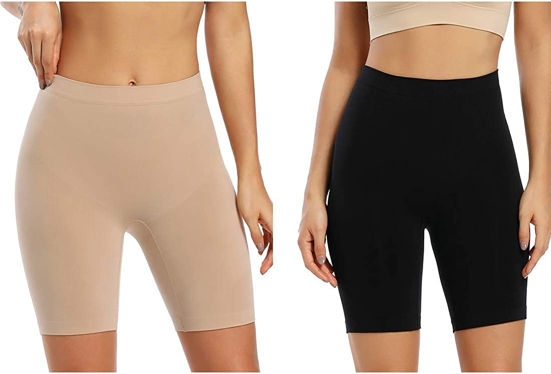 Seamless Smooth Half Slip Shorts for Under Dresses Mid Waist Thigh Slimmer Shorts Anti Chafing Boyshorts Pack of 2