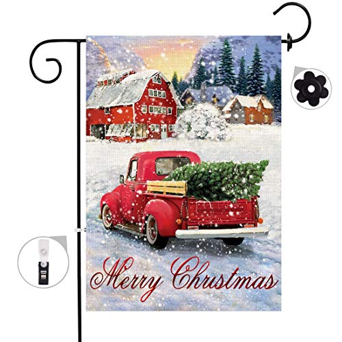 Bonsai Tree Christmas Burlap Garden Flags, Double Sided Red Truck with Christmas Tree House Flags, Merry Christmas Winter Signs Rustic Outdoor Decorations Yard 12 x 18 Prime (Christmas Flags Small Yard)