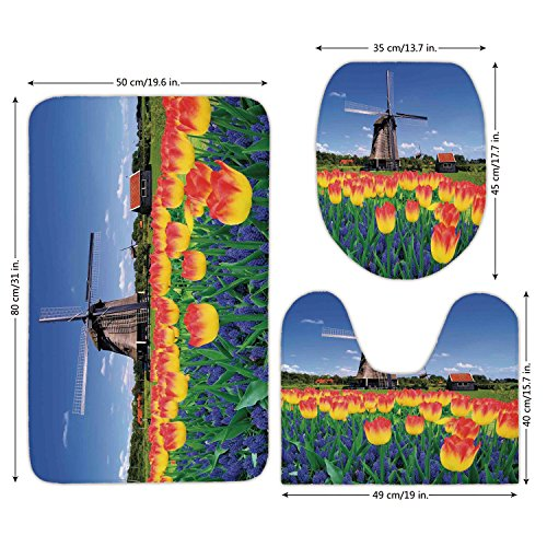 Countryside Windmill (3 Piece Bathroom Mat Set,Landscape,Tulip Blooms with Classic Dutch Windmill Netherlands Countryside Spring Picture,Yellow Blue,Bath Mat,Bathroom Carpet Rug,Non-Slip)