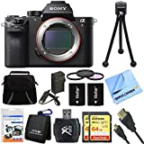 Sony ILCE7RM2/B a7R II Full-Frame Mirrorless Interchangeable Lens Camera Body 128GB Bundle includes Full-frame Camera Body, 2x 64GB SDXC Memory Cards, Card Reader, 62mm Filter Kit & More