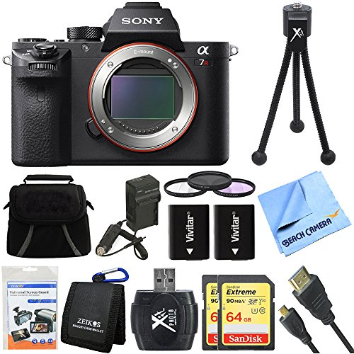 Sony ILCE7RM2/B a7R II Full-Frame Mirrorless Interchangeable Lens Camera Body 128GB Bundle includes Full-frame Camera Body, 2x 64GB SDXC Memory Cards, Card Reader, 62mm Filter Kit & More by Beach Camera