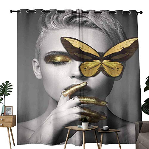 duommhome Fresh Curtains Detail of face of Beautiful Woman with Delicate Venetian mask 70%-80% Light Shading, 2 Panels,W120 x L96