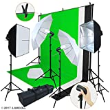 (US) Linco Lincostore Photo Video Studio Light Kit AM169 - Including 3 Color Backdrops (Black/Whtie/Green) Background Screen
