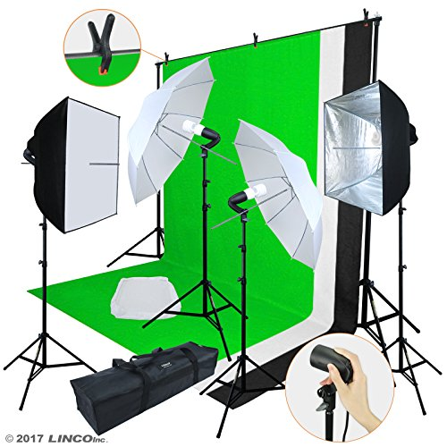 Linco Lincostore Photo Video Studio Light Kit AM169 - Including 3 Color Backdrops (Black/White/Green) Background Screen (Camera Light Kit)