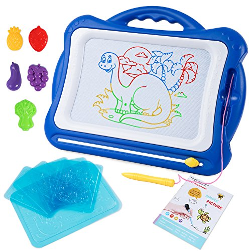 SGILE Magnetic Drawing Board Toy, Latest Magna Doodle Writing Painting Board with 5 Stamps 6 Sketch Boards and Album, Non-Toxic Color Erasable Sketching Sketch Pad for Toddlers Kids Girls Boys, - Magna Wall