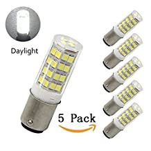 Bqhy® 120V 4W Ba15d Dimmable LED Light Bulb 40W Equivalent Daylight 6000k Ba15d Double Contact Bayonet Base Halogen Replacement Bulb for Chandelier Crystal Ceiling Lamp Light (Pack of 5)