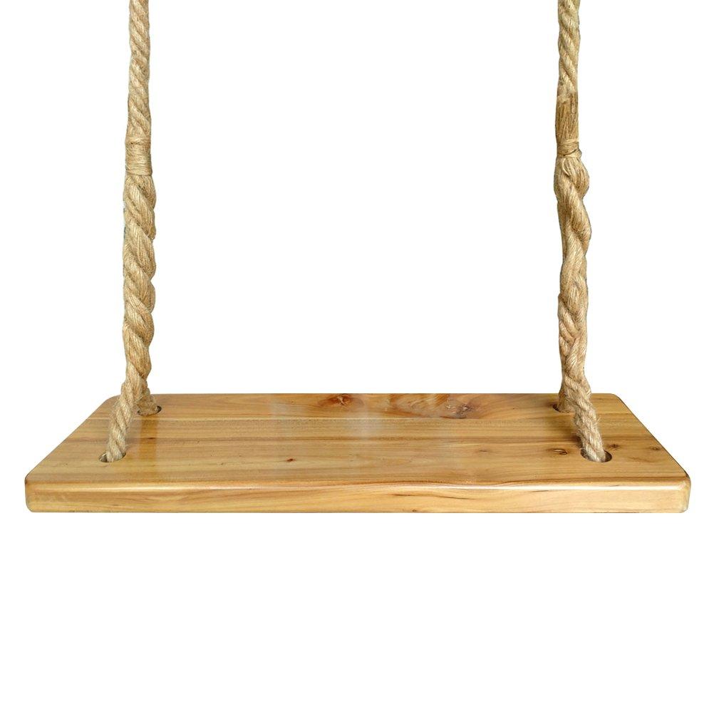 Aoneky Waterproof Wood Swing, Kids Children Tree Swing Seat, Adult Backyard Outdoor Replacement Rope Wooden Swing Set, Round 23'' x 8'' by Aoneky