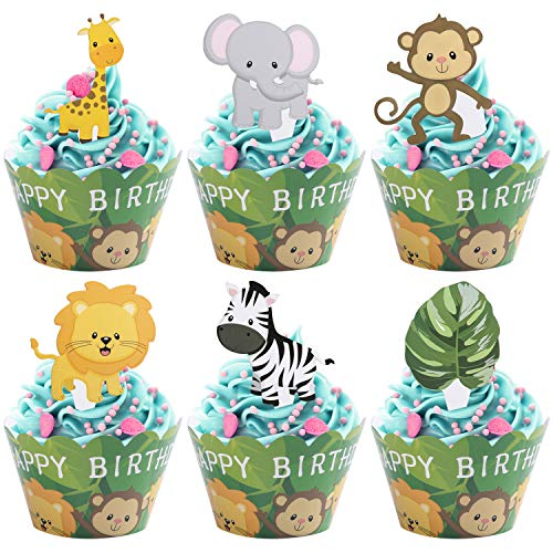 Woodland Jungle Animals Cupcake Toppers and Wrappers Double Sided Kids Party Cake Decorations Set of 24