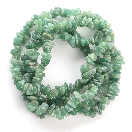 (iSTONE 1 Strand (32inches) of Real Green Jade Aventurine Natural Gemstone Chips Beads. Blue Color, Wholesale Price. Prepared Exclusively)