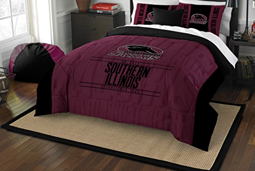 The Northwest Company Officially Licensed NCAA Southern Illinois Salukis Modern Take Full/Queen Comforter and 2 Sham Set (Illinois Sham)