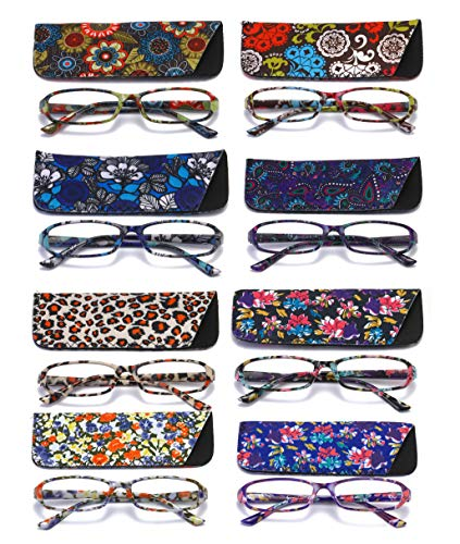 SOOLALA 8-Pair Fashionable Spring Hinge Rectangular Reading Glasses w/Matching Pouch (8 Pairs Mixed Colors-A, 4.0)