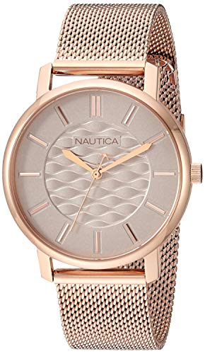 Nautica Women's Coral Gables Japanese-Quartz Watch with Stainless-Steel Strap, Rose Gold, 17.7 (Model: - Nautica Watch Interchangeable Set