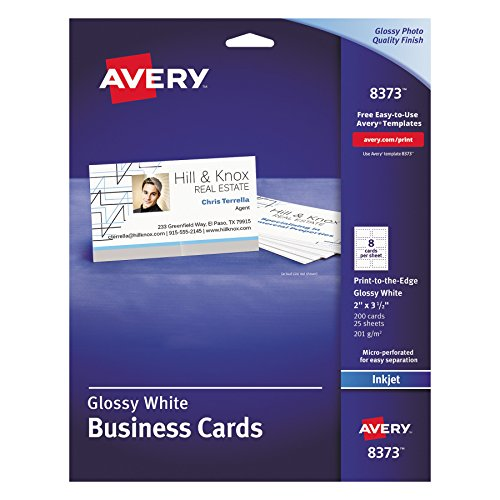 Avery 8373 Print-to-the-Edge Microperf Business Cards, Inkjet, 2x3 1/2, White, Gloss (Box of 200)]()