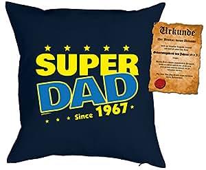 Cojín Cumpleaños: Super Dad Since 1967–Set de regalo con Gratis Escrituras–Cojín, sofá–Navyblau