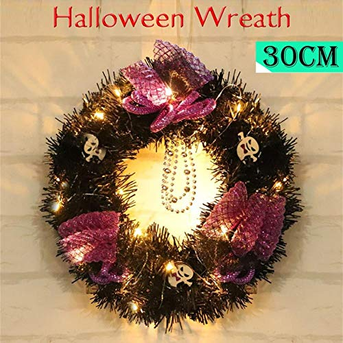 Hockus Decorations Halloween Fake Plants Large Wreath Door Wall Ornament Garland Decoration Pumpkin Skull plantas artificiais Home Decor Fake Plant - (Color