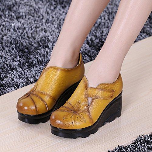 KHSKX-Hang Schuhe Frauen - Leder Mit Dicken Sohlen Hochhackige Schuhe Runden Kopf Nationalen Stil Damenschuhe Legere Damen Handgefertigten Lederschuhe Single yellow