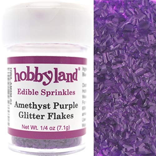 (Hobbyland Edible Sprinkles (Amethyst Purple Glitter Flakes, 1/4 oz))