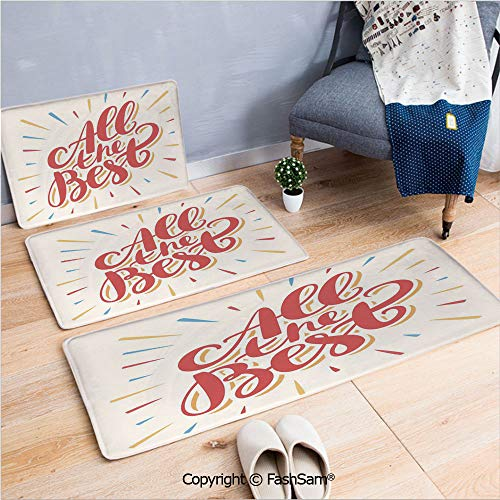 (FashSam 3 Piece Flannel Doormat All The Best Greeting Card Inspired Wish Cute Colorful for Kitchen Rugs Carpet(W15.7xL23.6 by W19.6xL31.5 by W17.7xL53) )