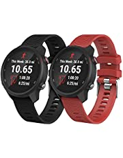 APPHOME Vivoactive 3 Music Watch Band 20mm 2 Pack Soft Silicone Replacement Watch Straps Compatible with Garmin Vivoactive 3/ Forerunner 245/245 Music/ 645/645 Music Smartwatch, Black+Red