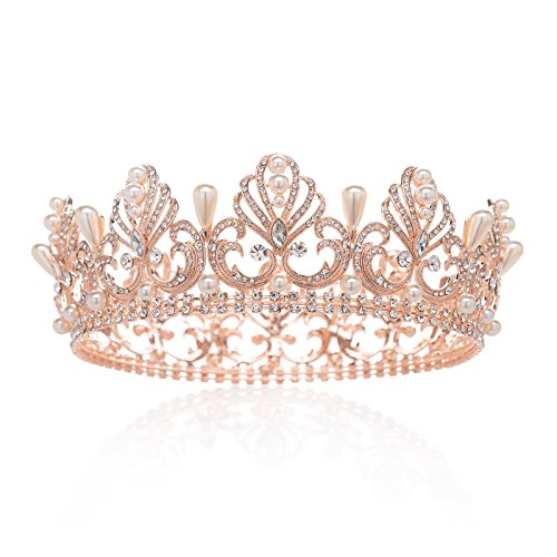 SWEETV Rose Gold Tiara Full Round Crown Crystal Party Headpieces Pearl Hair Jewelry for Women