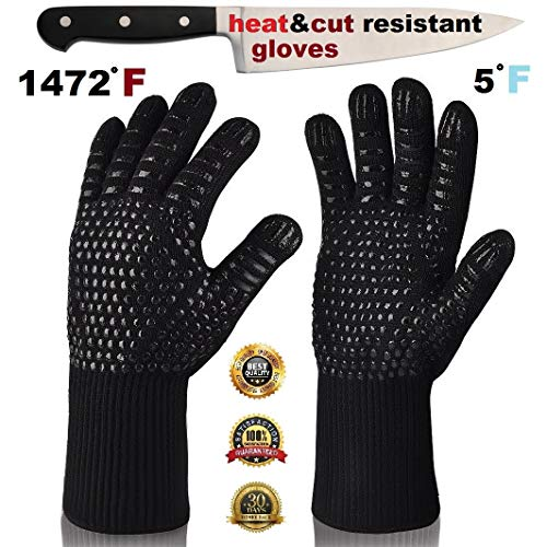 - ARCTICA GRIPS Oven Frying Smoker Barbecue Grill BBQ Baking Cooking Grilling Gloves  932 F Extreme Heat Rated Cut Fire Resistant Glove Indoor Outdoor Extra Long Cuff Kitchen Mitts for Men Women 1pair