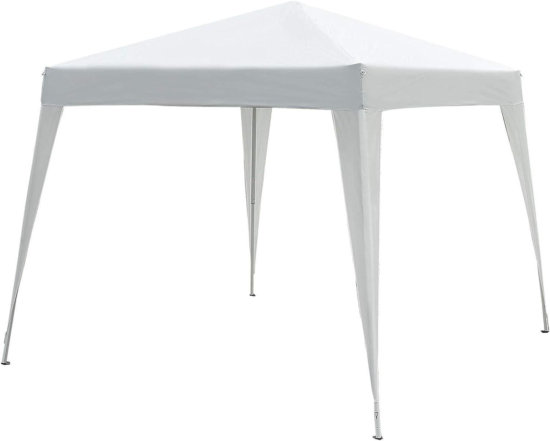 Outsunny Carpa Cenador Plegable para Exterior para Jardín Camping Fiesta Tienda Eventos - Blanco - Acero y Oxford - 3 x 3m