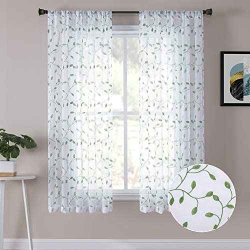 Tollpiz Leaves Sheer Curtains Green Leaf Embroidery Bedroom Curtain Rod Pocket Voile Faux Linen Embroidered Leaves Curtains for Living Room, 54 x 63 inches Long, Set of 2 Panels