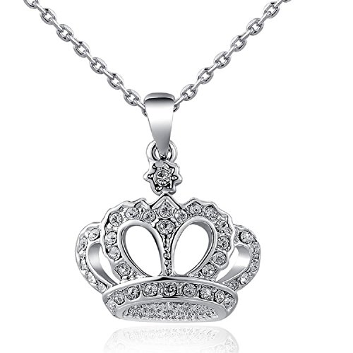 Yeahjoy Women's Princess Crown Pendant Necklace 3 Lays Rose Gold/Platinum Plated with Austrain Crystals (Crown Style 3) -