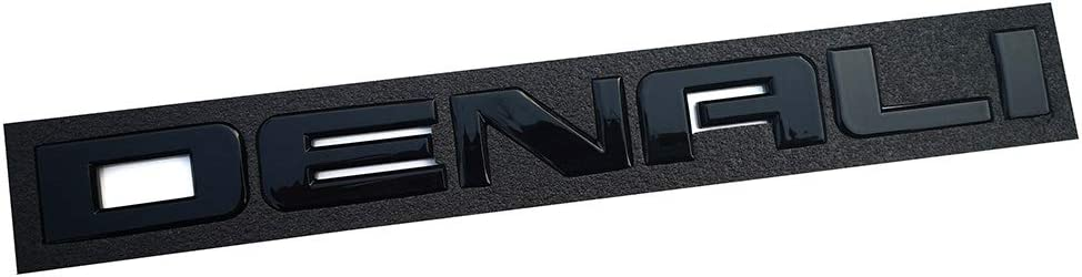 2Pcs Glossy Denali Nameplate Emblems Hd Badge Replacement for Gm 07-16 Yukon Sierra Terrain Glossy black