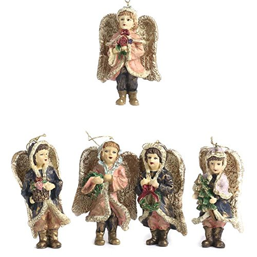 Factory Direct Craft Group of 4 Resin Painted Miniature Assorted Style Victorian Angel Ornaments for Tree Trim, Package Embellishments, and Displaying