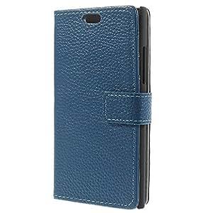 MTP Nokia Lumia 730 Dual Sim Funda, Cover, Carcasa con Función de Soporte - Estilo Cartera - Azul