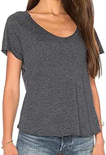d1848a512cddf Misaky Women's Sexy Backless Short Sleeve Top Back Knot Casual Shirt Tee  Blouse