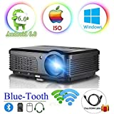 Android 6.0 WiFi Bluetooth Projector 3600 Lumen LCD LED Projector 1080p 720p Full HD Support, Multimedia Home Theater Video Projector Speakers HDMI Cable Remote for Phone iPhone PC USB Outdoor Movies