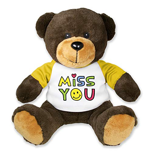 (Flutter Hut Miss You Teddy Bear Heart Smiley Face with Message T-Shirt Yellow Sleeves 9 Inches)